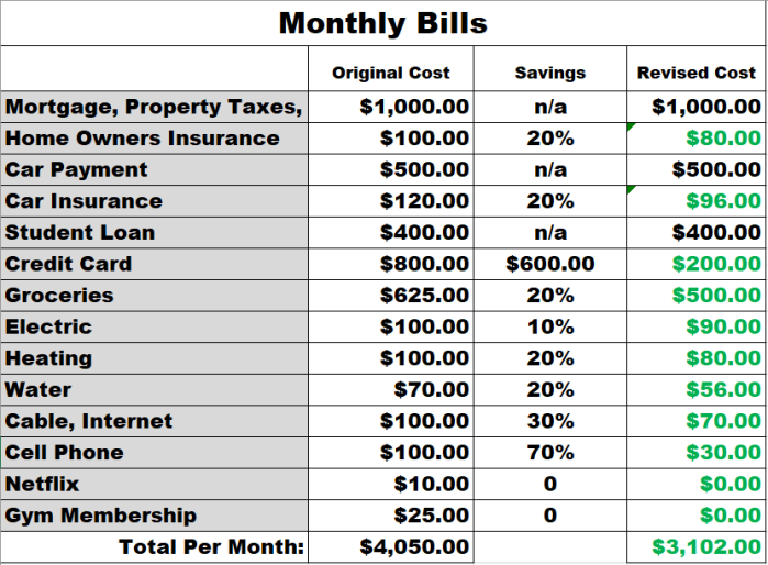 Monthly Bills Revised